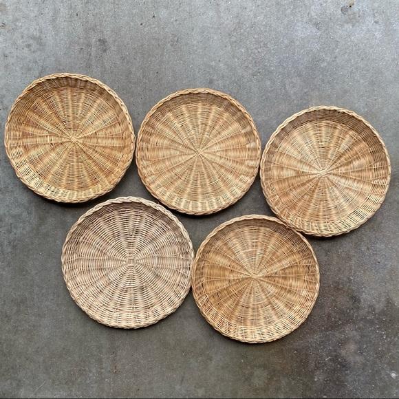 Vintage Set of Flat Boho Woven Wall Baskets